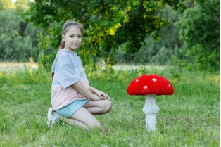 Топиари гриб мухомор стройный, маленький - газон Eco