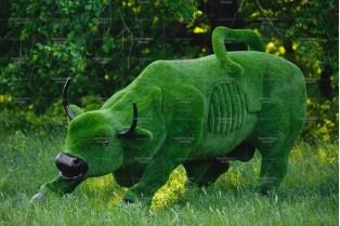 Топиари бык с Уолл-стрит - газон Premium