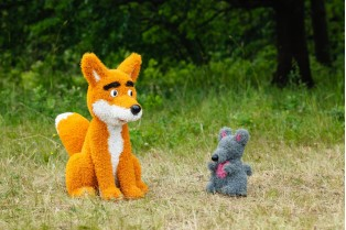 Топиари композиция лис и мышонок - газон Eco